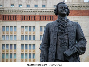 Moscow, Russia - July 9, 2017: Monument to Lomonosov near Moscow State University.