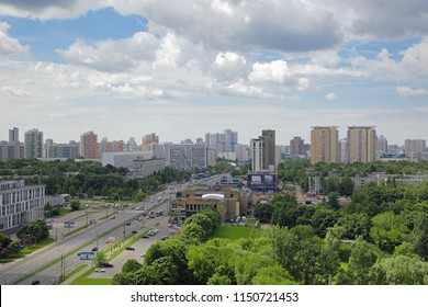 MOSCOW, RUSSIA - JUN 12, 2017: The cityscape, Western Administrative Okrug, top view of the Vernadsky prospect
