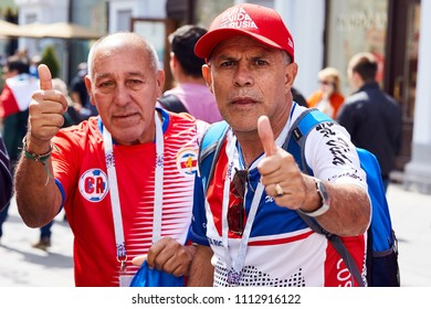 Moscow, Russia - Jun 14th 2018: 2018 FIFA World Cup. Costa Rican fans celebrate the start of the 2018 FIFA World Cup in the streets of Moscow.
