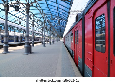MOSCOW, RUSSIA - JUNE, 01 2015: Train on Moscow passenger platform (Yaroslavsky railway station), Russia-- is one of nine main railway stations in Moscow, situated on Komsomolskaya Square.