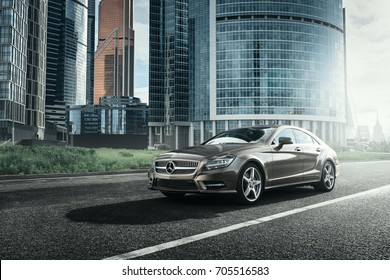 Moscow, Russia - June 02, 2017: Mercedes-Benz CLS 500 4MATIC car is parked near office buildings in Moscow