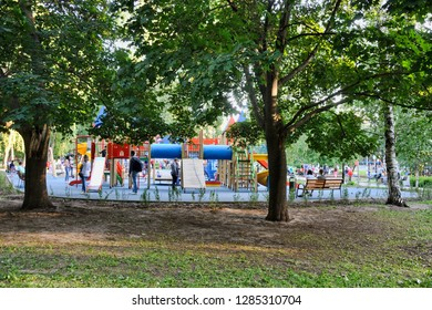 MOSCOW, RUSSIA - June 02, 2018 Playground for kids in Birch Grove Park in summer, metro station Polezhaevskaya.