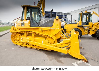 MOSCOW, RUSSIA - JUNE 02:  Yellow diesel bulldozer on display at Moscow International exhibition Construction equipment and technologies on June 02, 2010 in Moscow, Russia.