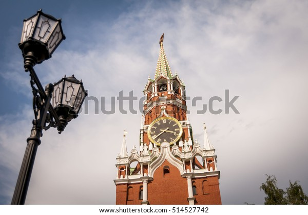 MOSCOW, RUSSIA. June 03, 2016. The Spasskaya Tower stock image. It is the most famous clock tower of the Kremlin government complex in central Moscow. It overlooks the Red Square.