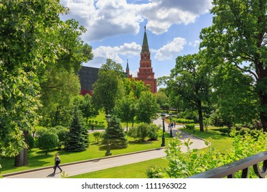 Moscow, Russia - June 03, 2018: Borovitskaya tower of Moscow Kremlin on a Alexandrovsky Garden background in sunny summer day