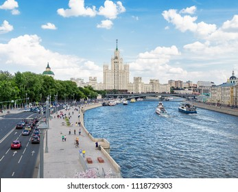 MOSCOW, RUSSIA - June 03, 2018. Cityscape with Moscow-river and famous Stalin's skyscraper on Kotelnicheskaya embankment.