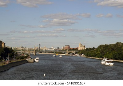 Moscow / Russia - June 03 2019: Cityscape, Moscow River, Andreevsky Bridge. Pushkin Embankment, Frunzenskaya Embankment. Summer Cityscape.