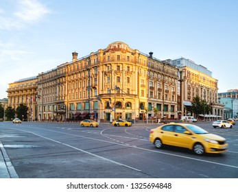 MOSCOW, RUSSIA - June 04, 2018. National hotel on Manezhnaya square, famous landmark in Moscow. Early morning in town, sunrise.