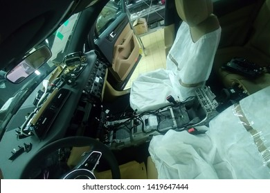 Moscow, Russia - June 04, 2019: Disassembled car interior Porsche Cayenne E3 2019. repairs and diagnostics of the new car.