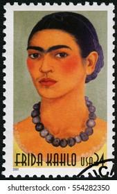 MOSCOW, RUSSIA - JUNE 05, 2016: A stamp printed in USA shows Frida Kahlo de Rivera (1907-1954), Mexican painter, Magdalena Carmen Frida Kahlo y Calderon, 2001