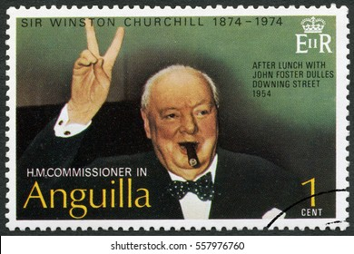 MOSCOW, RUSSIA - JUNE 05, 2016: A stamp printed in Anguilla shows Sir Winston Spencer Churchill (1874-1965), Churchill Making Victory Sign, 1954, politician, 1974