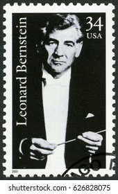 MOSCOW, RUSSIA - JUNE 05, 2016: A stamp printed in USA shows Leonard Bernstein (1918-1990), composer, 2001