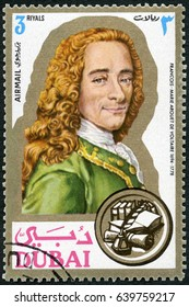 MOSCOW, RUSSIA - JUNE 05, 2016: A stamp printed in Dubai shows Francois Marie Arouet de Voltaire (1694-1778), writer, portraits, 1971