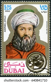 MOSCOW, RUSSIA - JUNE 05, 2016: A stamp printed in Dubai shows Avicenna (980-1037), scientist, portraits, 1971