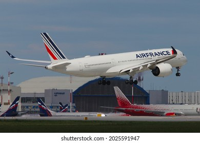 MOSCOW, RUSSIA - JUNE 05, 2021 - Air France Airbus A350-900 at Sheremetyevo International Airport.