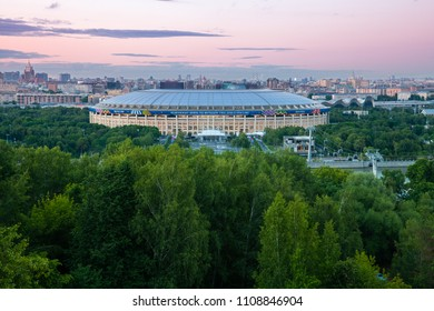 Moscow, Russia - June 06, 2018: The view of Luzhniki Stadium from Sparrow Hills observation deck, the main stadium of 2018 FIFA World Cup, June 06 2018, Moscow, Russia.