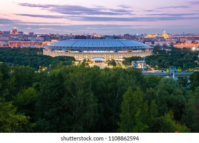 Moscow, Russia - June 06, 2018: The dusk view of Luzhniki Stadium from Sparrow Hills observation deck, the main stadium of 2018 FIFA World Cup, June 06 2018, Moscow, Russia.