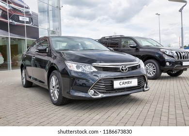 Moscow, Russia - June 07, 2017: Toyota Camry in front of the motor show