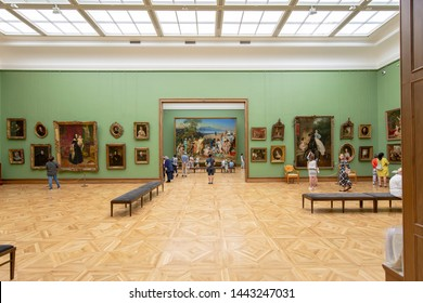 MOSCOW, RUSSIA - JUNE, 07 2019: The State Tretyakov Gallery-- is an art gallery in Moscow, Russia, the foremost depository of Russian fine art in the world. Gallery's history starts in 1856