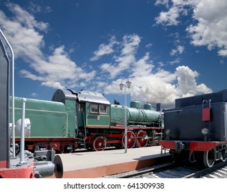 MOSCOW, RUSSIA - JUNE, 08 2015:Ancient steam locomotive, Moscow museum of railway in Russia, Rizhsky railway station (Rizhsky vokzal, Riga station)