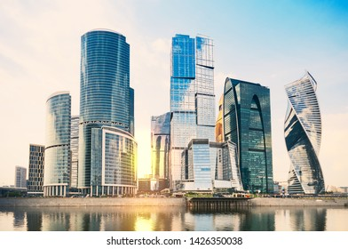 MOSCOW, RUSSIA - June 08, 2019: Skyscrapers in International Business-Center Moscow-City at downtown in sunset