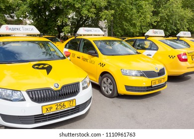 Moscow, Russia, June 09, 2018: Yandex taxi yellow cars on parking