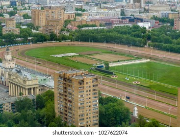 MOSCOW, RUSSIA - JUNE 1, 2017: Aerial view to Central Moscow hippodrome the largest horse racing track in Russia on June 1, 2017 in Moscow, Russia.