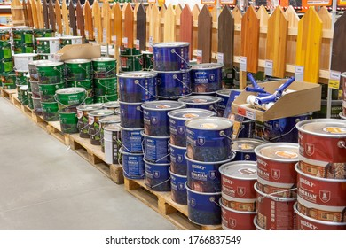 Moscow, Russia - June 1, 2020 : Interior of the OBI store. large hardware store, tools and material. the section with the paints.