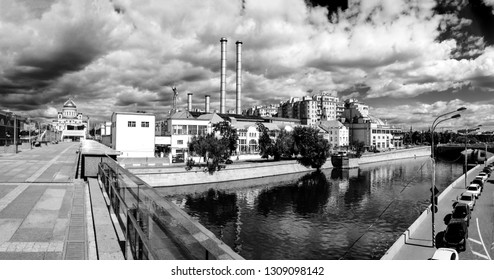 MOSCOW, RUSSIA - JUNE 10, 2015: Power station GES-2 Mosenergo at Bolotnaya embankment of Vodootvodni canal in Moscow, Russia on June 10, 2015. It plan to be removed in course of Golden Island project.