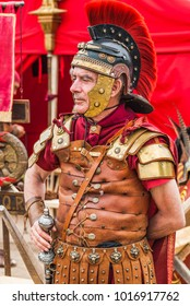 "Moscow, Russia - JUNE 10, 2017: Roman commander. The site ""Ancient Rome and its neighbours"". International festival of historical reconstruction ""Times and epochs"" in the Kolomenskoye Park"