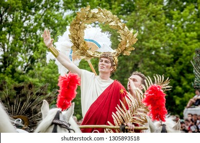 "MOSCOW, RUSSIA - JUNE 10, 2017: International festival ""Times and epochs. The meeting."" Roman Emperor."