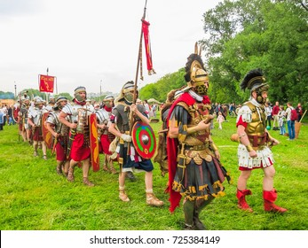 """Moscow, Russia - JUNE 10, 2017: Roman generals on the site """"Ancient Rome and its neighbours"""". International festival of historical reconstruction """"Times and epochs"""" in the Kolomenskoye Park"""