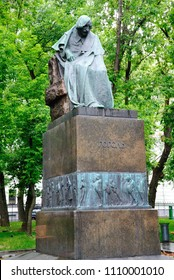 Moscow, Russia - June 10, 2018 - An impressionistic statue of Nikolai Gogol in Moscow