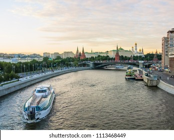 Moscow, Russia - June 10, 2018: View of the Moscow Kremlin, Bolshoy Kamenny Bridge and Moskva River embankment.
