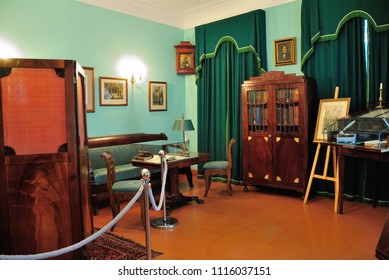 Moscow, Russia - June 10, 2018 - Interior of the house where Nikolai Gogol spent the last four years of his life in Moscow