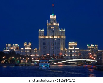 Moscow, Russia - June 10, 2018:Moskva river, skyscraper on the Kotelnicheskaya Embankment and park Zaryadye in Moscow, Russia at summer night
