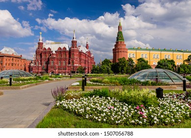 Moscow, Russia - June 10, 2019: Sightseeing Of Moscow. Manezhnaya square and the Kremlin, beautiful summer view of the historic center of Moscow