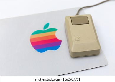 MOSCOW, RUSSIA - JUNE 11, 2018: Old original Apple Mac mouse in museum in Moscow Russia