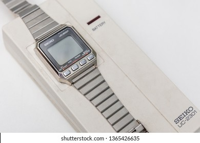 MOSCOW, RUSSIA - JUNE 11, 2018: Seiko Wrist wath Information System UC-2001. Watch communicates with UC-2301 interface via a wireless connection