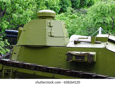 MOSCOW, RUSSIA – JUNE 11: Rare French tank that had been used in the Great War was displayed in a park during Historical Festival in Moscow on June 1-12, 2017