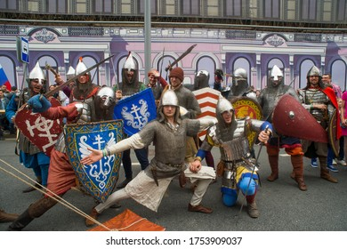 Moscow Russia June 12, 2017 historical festival times and epochs, medieval knights in armor with weapons on the central streets of Moscow