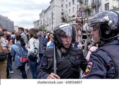 Moscow, Russia - June 12, 2017. Police on Tverskaya Street during an unauthorized demonstration against corruption of the Russian government