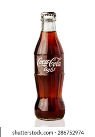 MOSCOW, RUSSIA - June 13, 2015: Classic bottle Of Coca-Cola light isolated on white