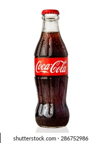 MOSCOW, RUSSIA - June 13, 2015: Classic bottle Of Coca-Cola isolated on white