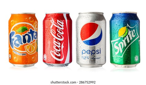 Moscow, RUSSIA - June 13, 2015: Coca-Cola, Fanta and Sprite cans with Pepsi can on white background.