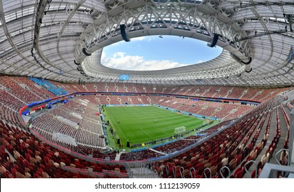Moscow, Russia - June 13, 2018. Interior view of Luzhniki stadium in Moscow, one day before the opening of FIFA World Cup 2018.