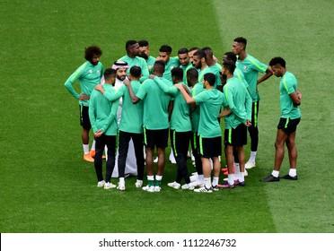 Moscow, Russia - June 13, 2018. Saudi Arabia Sports Minister Turki al-Sheikh talks to players during a Saudi Arabia training session ahead of the 2018 FIFA World Cup match Russia vs Saudi Arabia.