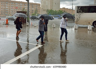MOSCOW, RUSSIA - JUNE 14, 2017: Heavy rain in city