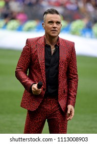 Moscow, Russia - June 14, 2018. British singer Robbie Williams performing at the opening ceremony of FIFA World Cup 2018 in Russia.