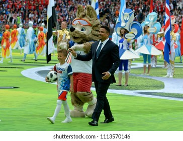 Moscow, Russia - June 14, 2018. Former Brazilian football star Ronaldo and mascot Zabivaka at the opening ceremony of FIFA World Cup 2018 in Russia.